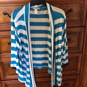 Striped open light sweater